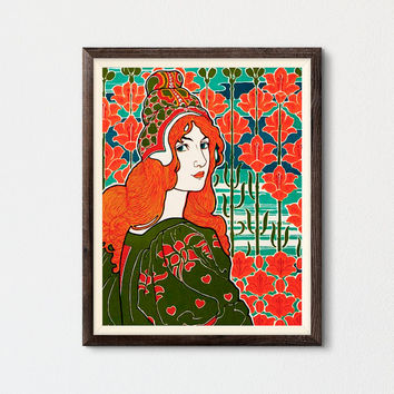 Art Nouveau Printable, Women Art by Louis John Rhead, Beautiful Women Colorful Wall Art, Art Nouveau Fairy, Orange Color Decor, Flower Decor