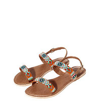 Teens Tan Beaded Sandals