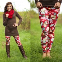 Fall Garden Patterned Leggings in Red