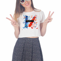 Twenty One Pilots logo Design For Womens Crop Shirt ***