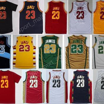 Hottest 23 LeBron James Basketball Jerseys Men St. Vincent Mary High School Irish,Movie TUNESQUAD Throwback Blue White Green Brown Red Black