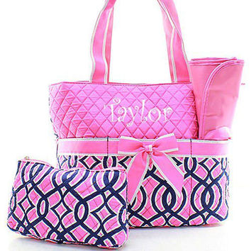 Monogrammed Pink And Navy Diaper Bag Personalized
