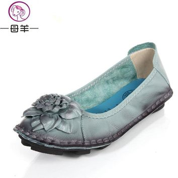Women Genuine Leather Flat Shoes Woman Loafers 2017 New Fashion Women Shoes Casual Han