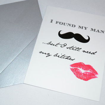 Will you be my Bridesmaid Card Mustache and Lips Bridesmaid Proposal Card Funny bridal Card Lipstick and Mustache Bridesmaid Invitation card