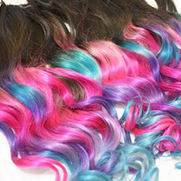 Ombre Pink Valentine Dip Dyed Hair, Clip In Hair Extensions, Tie Dye Tips, Brunette Hair, Hair Wefts, Human Hair Extensions, Hippie hair