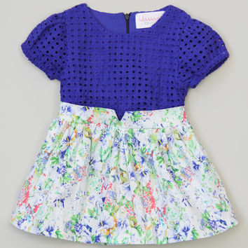 Blossom Couture Royal Floral Eyelet Dress - Toddler & Girls | zulily