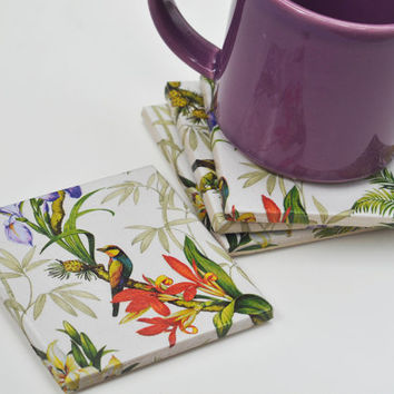 Coasters Tropical Garden Flowers and Birds Exotic Spring Summer, set of 4