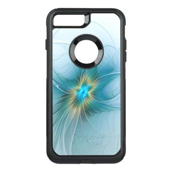 The little Beauty Modern Blue Gold Fractal Flower OtterBox Commuter iPhone 8 Plus/7 Plus Case
