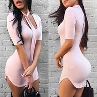 Fashion Solid Color Tight Pack Hip Low Chest Short Sleeve Irregular Mini Dress