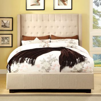 Mira collection ivory fabric upholstered and tufted tall queen headboard bed frame set