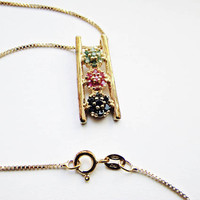 """Lovely Asian Style Multi Stone Pendant, Sterling Silver with Gold Wash, Vermeil Finish on an Italian 18"""" Vermeil/925 Box Chain"""