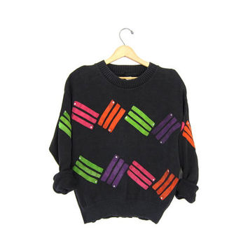 1980s abstract sweater. Retro sweater. Leather patches sweater. Faded black pullover. Vintage colorful sweater SUEDE patches. Rhinestones.
