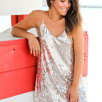 Rose Silver Sequined Short Dress