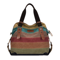 Color Block Striped  Canvas Crossbody Messenger Bag