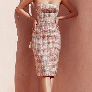 Elegant Moment Multi Tweed Plaid Pattern Strapless Bodycon Midi Dress
