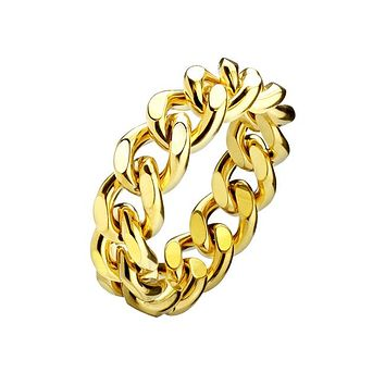 Unite - Men's Stainless Steel Ion Plated Static Gold Chain Ring