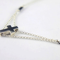 Large Cross Necklace in Sterling Silver with Black Raw Rough Diamonds - OOAK