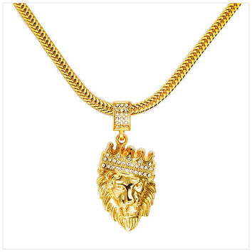 VIP Hot Mens Hip Hop Jewelry Iced Out 18K Gold Plated Fashion Bling Bling Lion Head Pendant Men Necklace Gold Filled For Gift/Present
