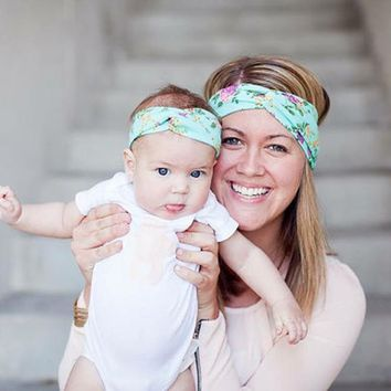 New Mom and Me Matching Turban Headband for Hair Accessories Fashion Bohemian Floral Headband Set girl Topknot Headband Set 1set