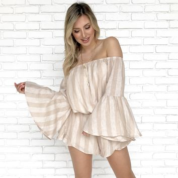 Sand Stripe Long Sleeve Off Shoulder Romper