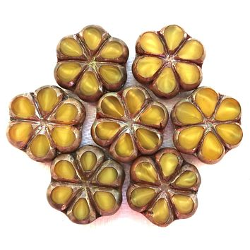 Lot of six 15mm table cut, carved,opaque, marbled mustard yellow with silver & brown picasso accents, Czech glass flower beads C71106