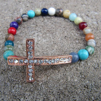 Rose Gold Crystal Sideways Cross Bracelet with Mixed Gemstones