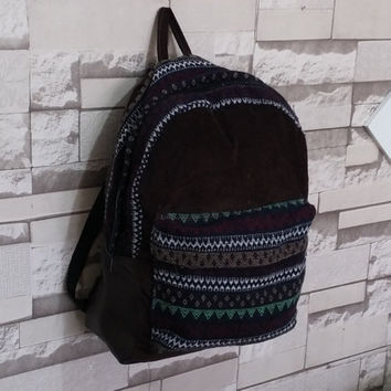 Handmade, Corduroy Backpack, Bohemian Backpack, Tribal backpack, Ethnic, hipster backpack, school bag, chocolate, Laptop Bag, Aztec, unisex