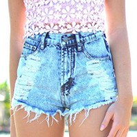 High Waisted Cut-Off Denim Shorts with Distressed Detail