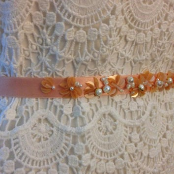 Blush Petal and Pearl Beaded Bridesmaid Belt on Satin Ribbon