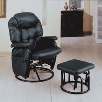 Black/Metal Swivel Rocker Recliner with Ottoman