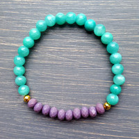 Teal & Lavender Stackable Gemstone Beaded Bracelet