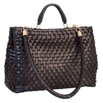 Contessa-Woven Leather Handbag