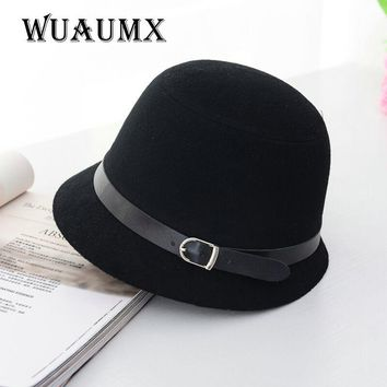 Wuaumx Fedoras hat Fall Winter Women's hat Dome Cloche belt top hat for lady girl floppy cartola female Bowler Equestrian cap