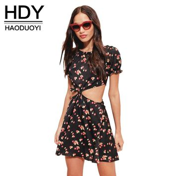 Women Cherry Printed Summer Dress Casual Short Sleeve   Beach Hollow Out Belt Front Mini Dress
