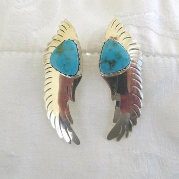 Navajo Sterling Earrings, Turquoise Stones, Signed Navajo Artisan, Ronnie Hurley, Native American Jewelry, Pierced Earrings
