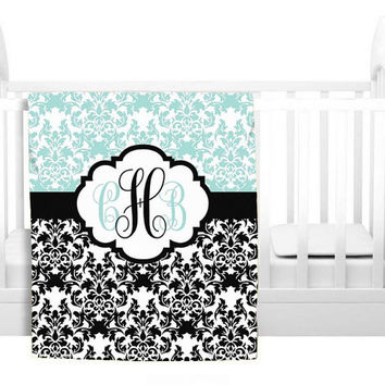 Damask MONOGRAM Blanket Personalized Soft Baby Blanket Nursery Fleece Blanket Nursery Decor 50x60 60x80 Bedding Choose Colors Shower Gift