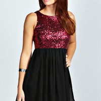 Rosie Open Back Sequin Skater Dress