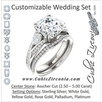 CZ Wedding Set, featuring The Jackie engagement ring (Customizable Asscher Center with Flanking Pear Accents and Pavé Band)