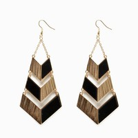 Pu inset Chevron Drop Earring