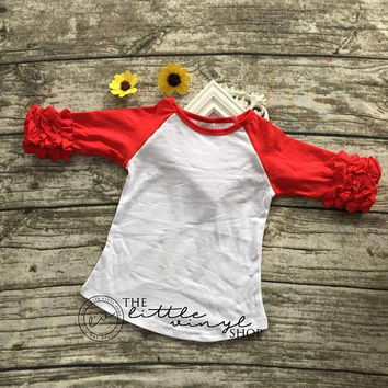 Ruffle Icing Raglan Baseball Tee Shirt - Red White - Blank Wholesale Embroidery HTV - In Stock