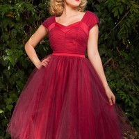 Lesley-Ann Dress in Red with Burgundy Tulle