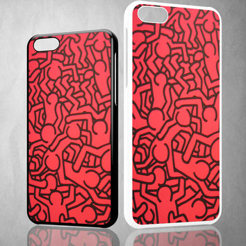 Keith Haring Colors Go Back X0151 iPhone 4S 5S 5C 6 6Plus, iPod 4 5, LG G2 G3, Sony Z2 Case
