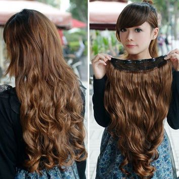 Women Long Curl Wavy Clip-on Hair Extension = 1932299140