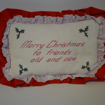 Vintage, Handmade, Merry Christmas, Pillow.