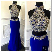 Two Pieces Blue Mermaid Prom Dresses 2016 Halter Luxury Sequined Arabic Dubai Backless Party Dress Vestido De Festa