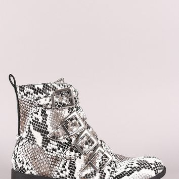 Qupid Python Print Studded Buckled Strap Moto Ankle Boots