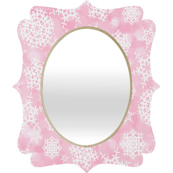 Lisa Argyropoulos Snow Flurries in Pink Quatrefoil Mirror