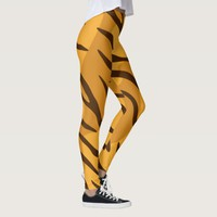 Orange Brown Stripes Tiger Skin Pattern Leggings