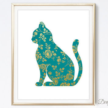 Gold Foil - Metallic Art - Cat Art - Cat Silhouette - Shabby Chic - Floral