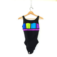 20% OFF SALE vintage black color block one piece swimsuit. women's swimwear